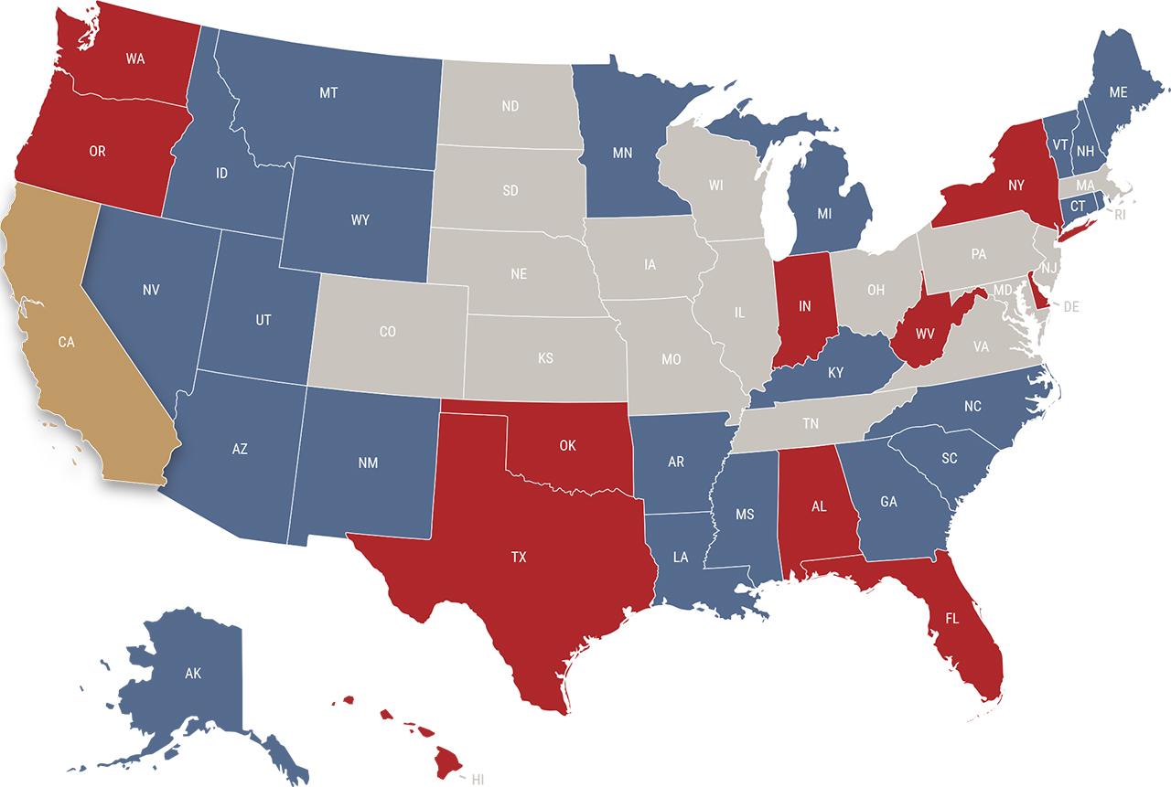 California reciprocity map