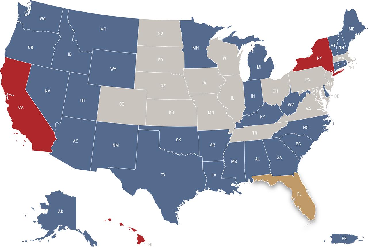 Florida reciprocity map