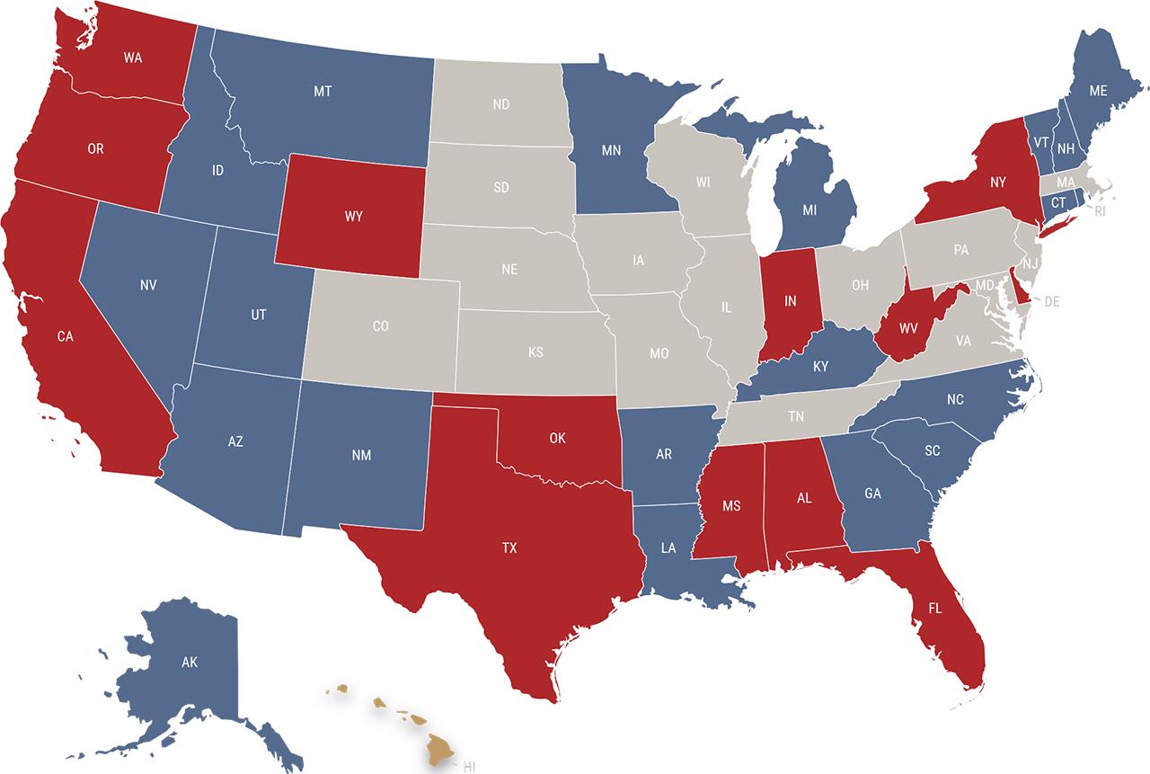 Hawaii reciprocity map