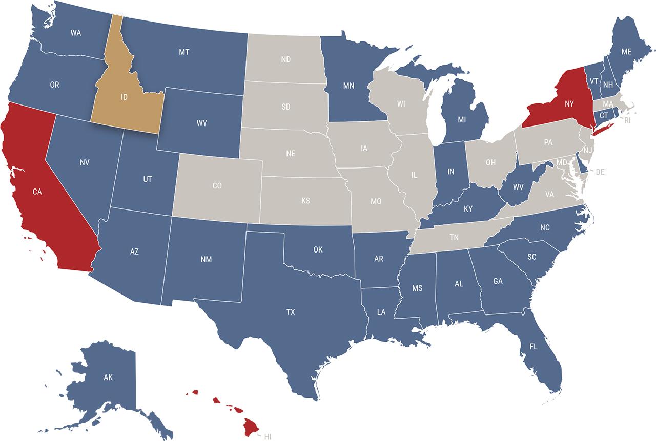 Idaho reciprocity map