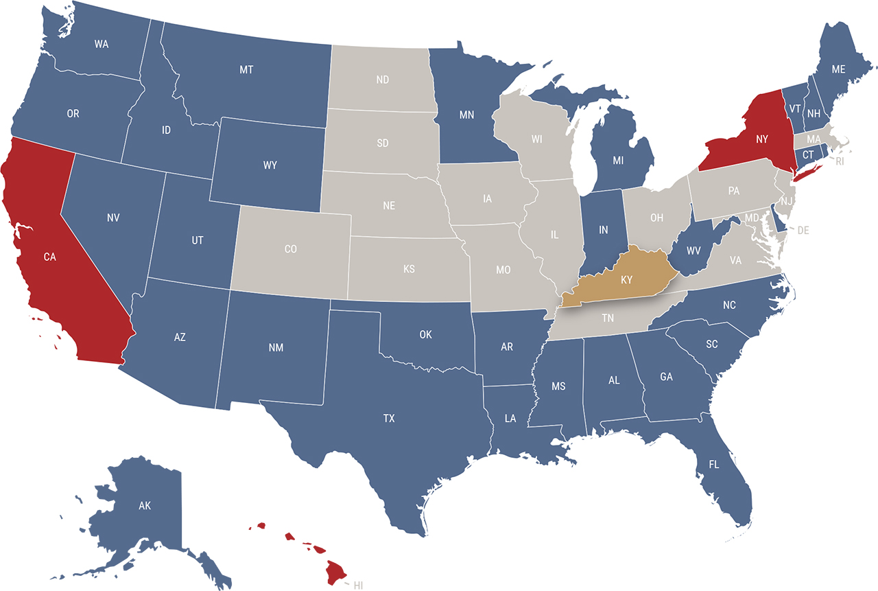 Kentucky reciprocity map
