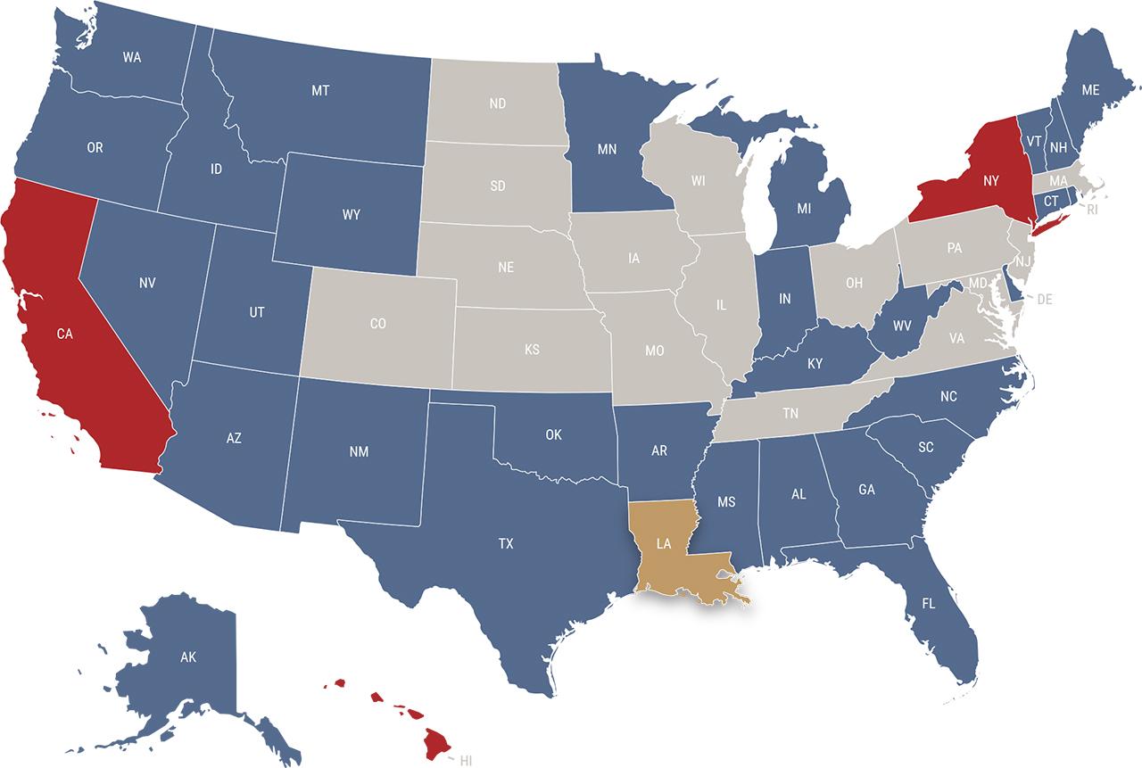 Louisiana reciprocity map