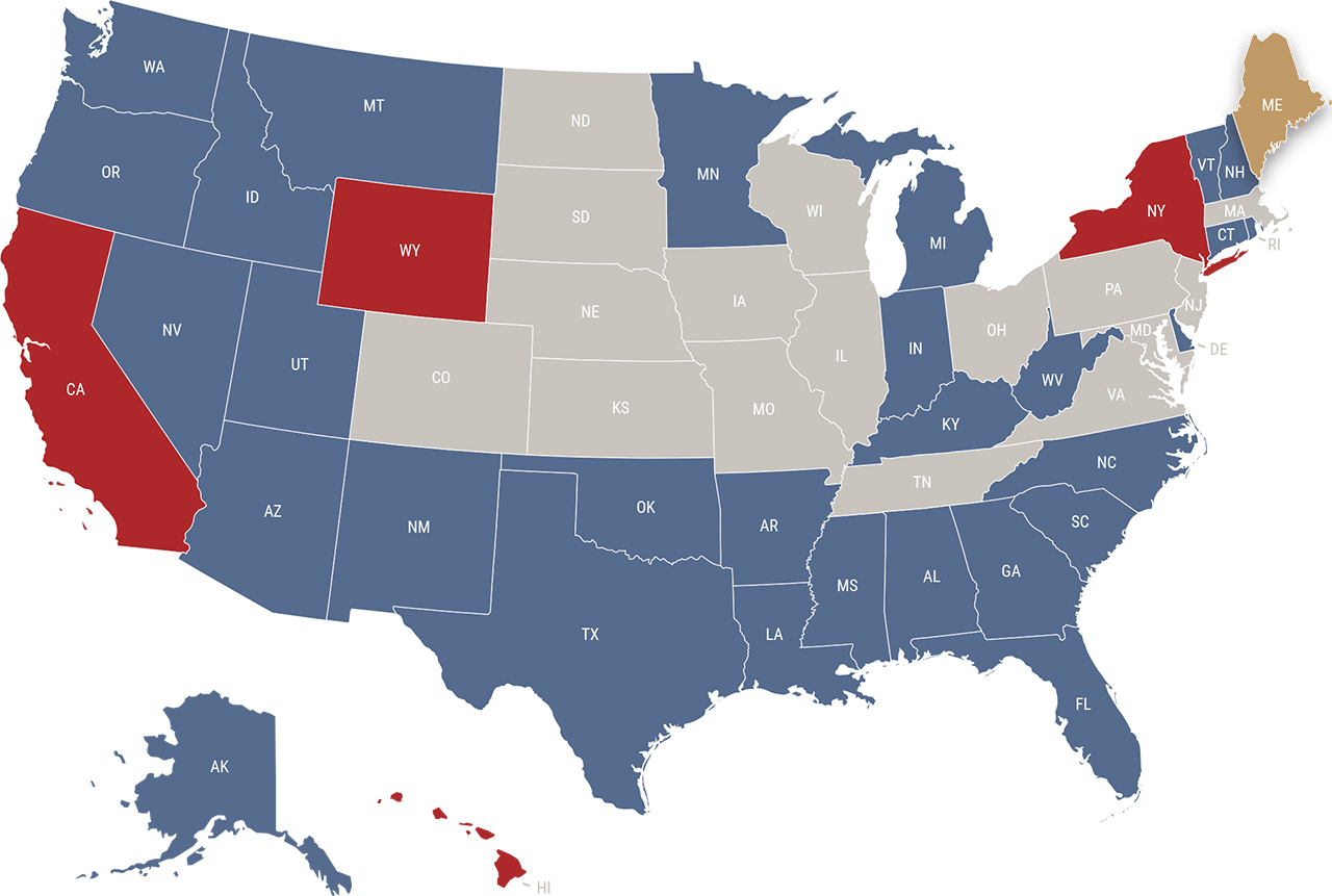 Maine reciprocity map