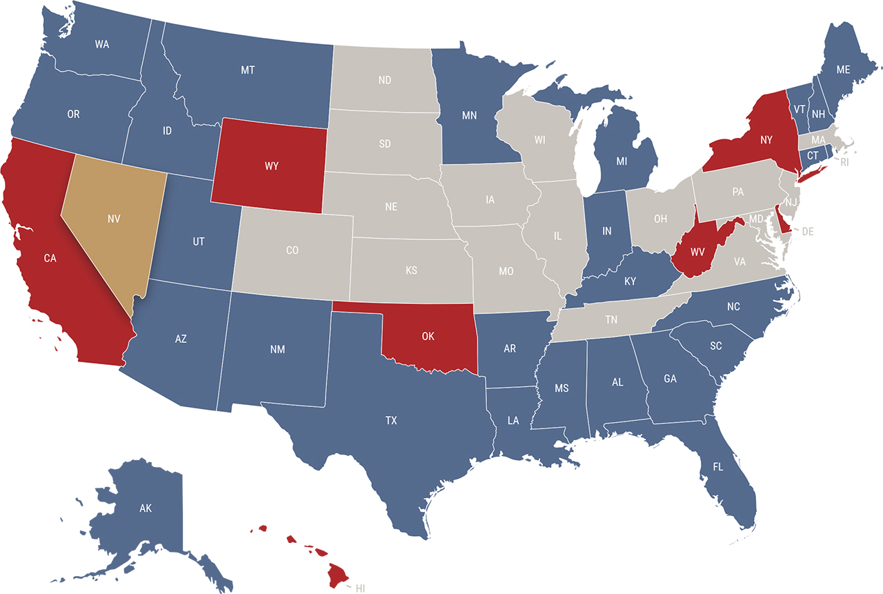 Nevada reciprocity map