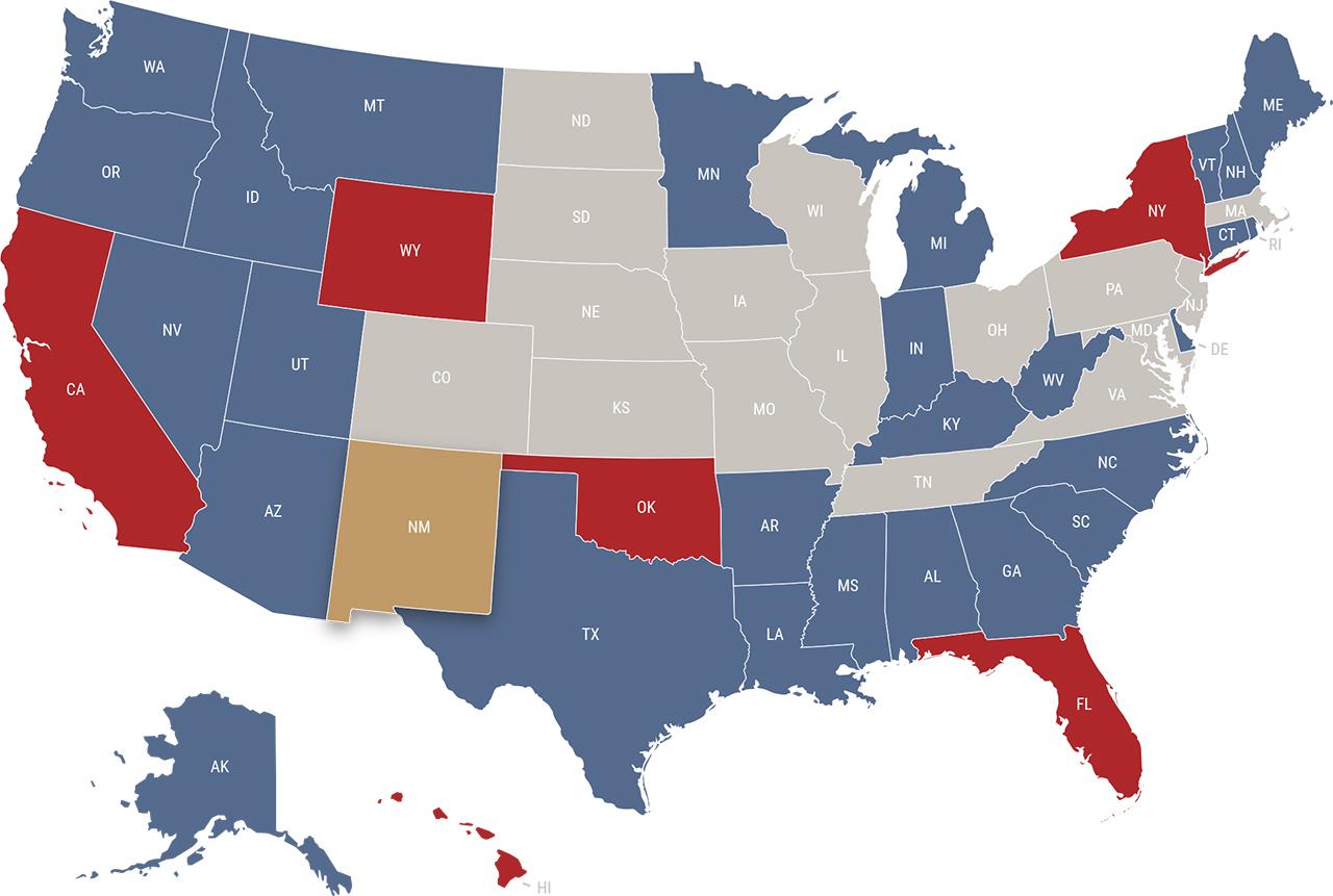 New Mexico reciprocity map