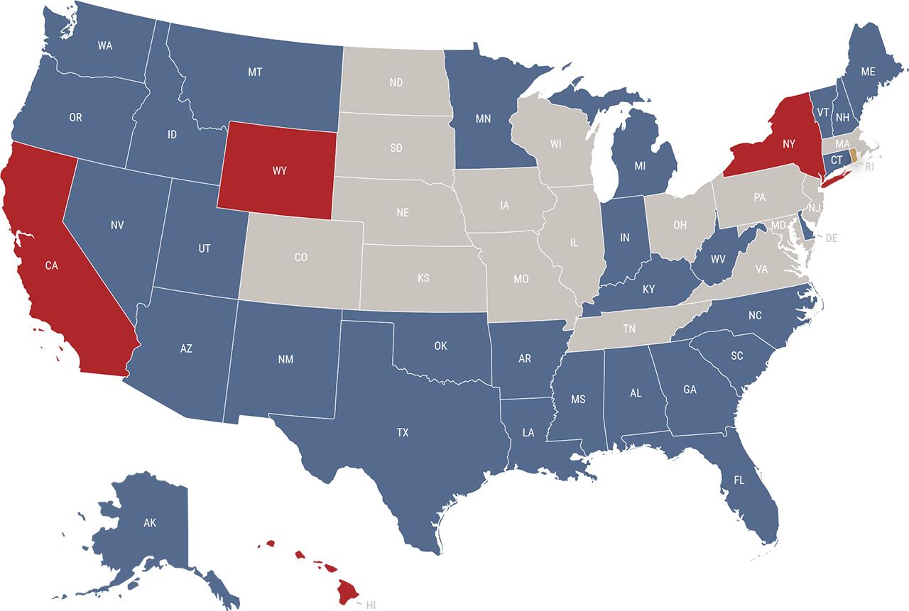 Rhode Island reciprocity map