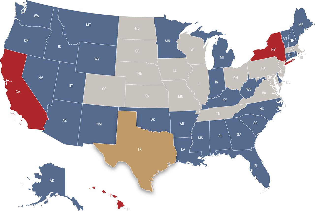 Texas reciprocity map