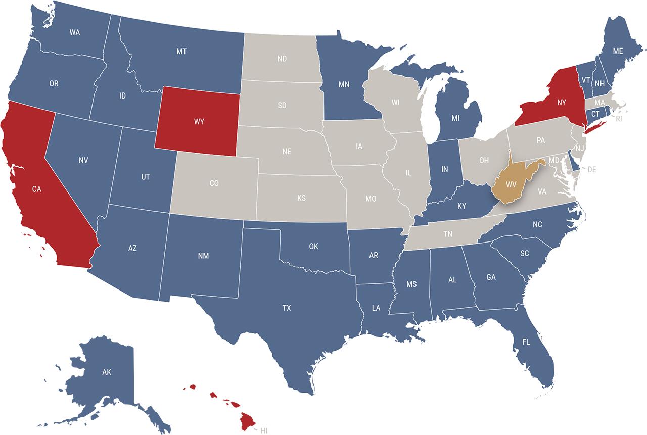 West Virginia reciprocity map