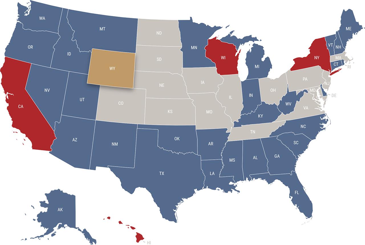 Wyoming reciprocity map